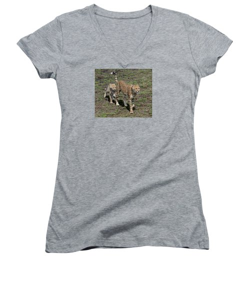 Women's V-Neck T-Shirt (Junior Cut) featuring the photograph Cute Cheetah Wait For Me Mommy by Tom Wurl