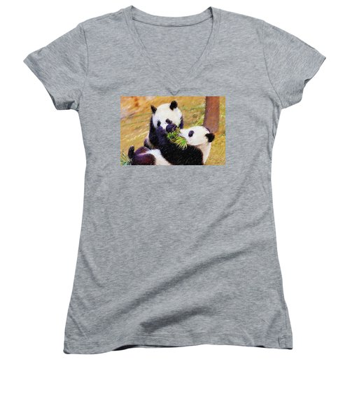 Women's V-Neck T-Shirt (Junior Cut) featuring the painting Cute Pandas Play Together by Lanjee Chee