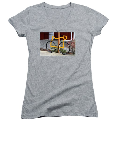 Women's V-Neck T-Shirt (Junior Cut) featuring the photograph Cycle Oregon by Kevin Desrosiers