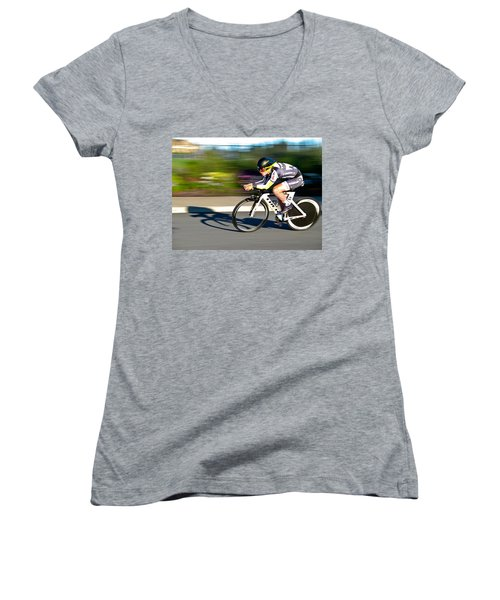 Women's V-Neck T-Shirt (Junior Cut) featuring the photograph Cycling Prologue by Kevin Desrosiers
