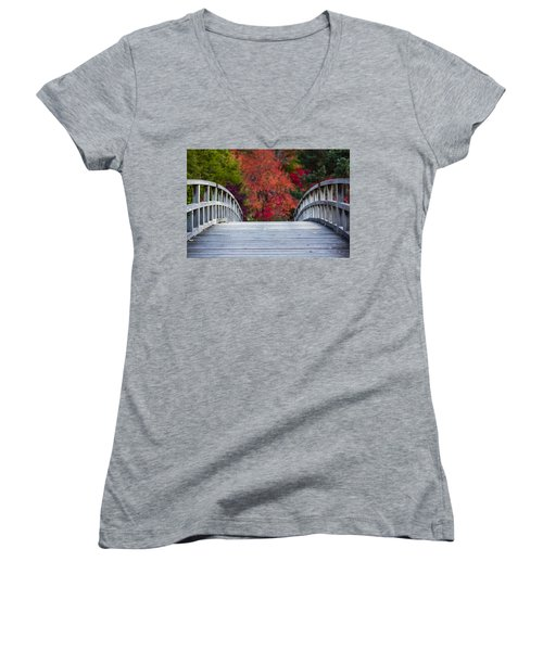 Women's V-Neck T-Shirt (Junior Cut) featuring the photograph Cypress Bridge by Sebastian Musial