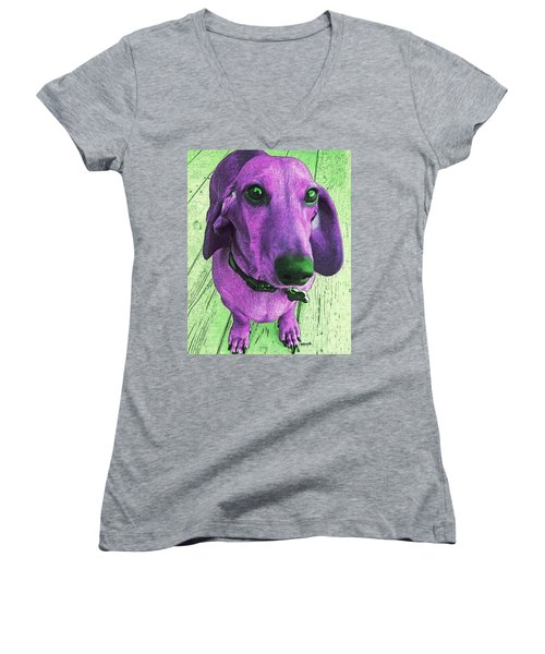 Dachshund - Purple People Greeter Women's V-Neck (Athletic Fit)