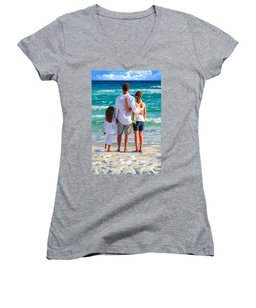 Dad And His Girls Women's V-Neck T-Shirt (Junior Cut)