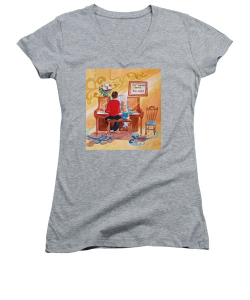 Daddy's Little Girl Women's V-Neck T-Shirt (Junior Cut) by Marilyn Jacobson