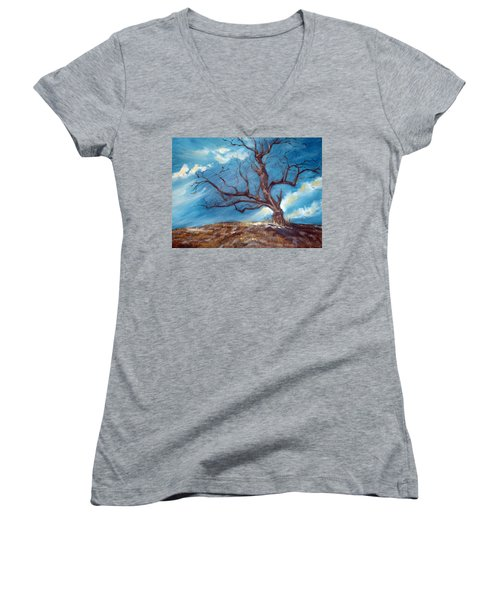 Women's V-Neck T-Shirt (Junior Cut) featuring the painting Daddy's Tree by Meaghan Troup