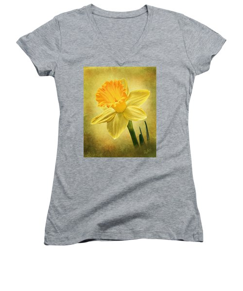 Women's V-Neck T-Shirt (Junior Cut) featuring the photograph Daffodil by Ann Lauwers