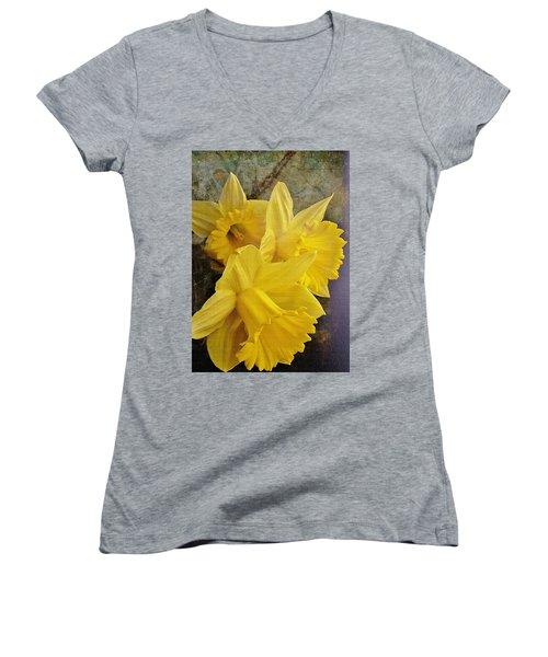 Women's V-Neck T-Shirt (Junior Cut) featuring the photograph Daffodil Burst by Diane Alexander