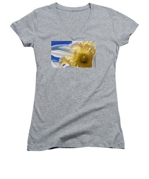 Women's V-Neck T-Shirt (Junior Cut) featuring the photograph Daffodil In The Sun by Bruce Bley