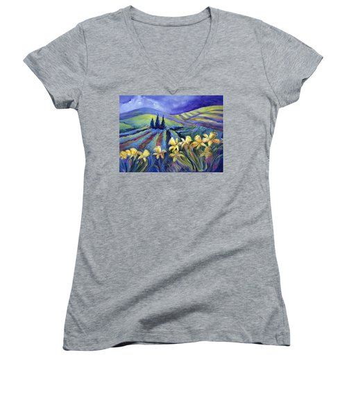 Daffodils And Stormclouds Women's V-Neck T-Shirt