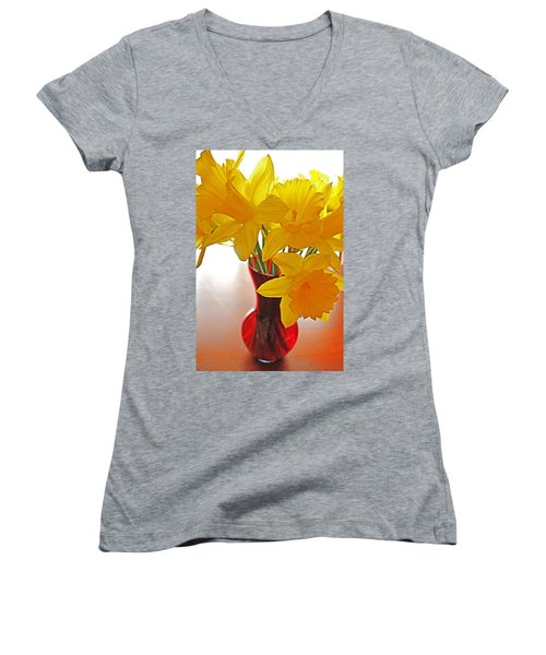Women's V-Neck T-Shirt (Junior Cut) featuring the photograph Daffodils In Red Vase by Diane Alexander