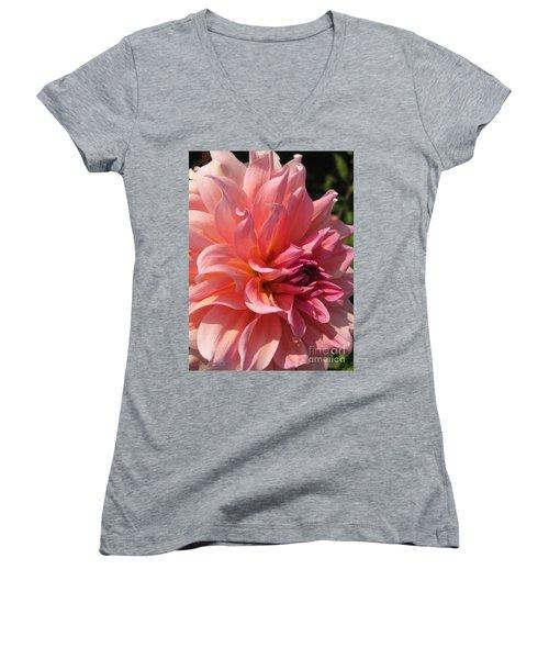 Dahlia Named Fire Magic Women's V-Neck T-Shirt (Junior Cut) by J McCombie