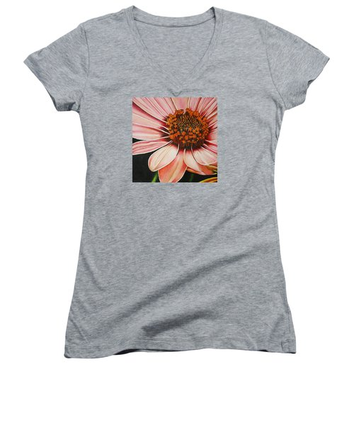 Daisy In Pink Women's V-Neck T-Shirt (Junior Cut) by Bruce Bley