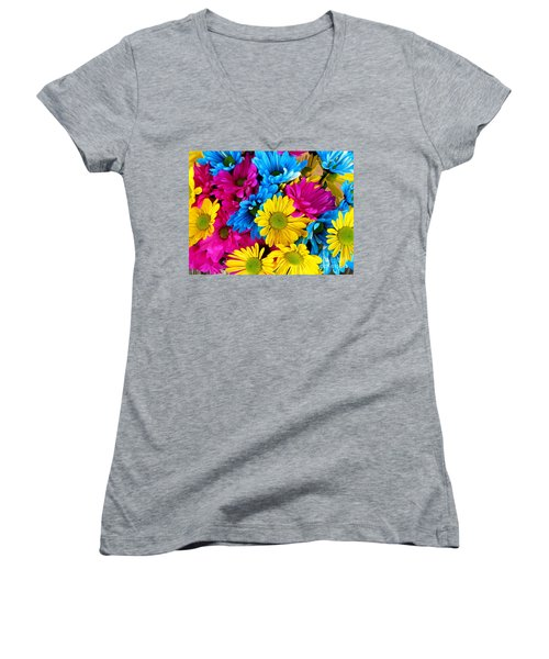 Women's V-Neck T-Shirt (Junior Cut) featuring the photograph Daisys Flowers Bloom Colorful Petals Nature by Paul Fearn