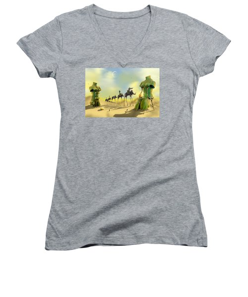 Dali On The Move  Women's V-Neck T-Shirt (Junior Cut) by Mike McGlothlen