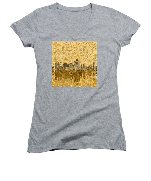 Dallas Skyline Abstract 6 Women's V-Neck T-Shirt