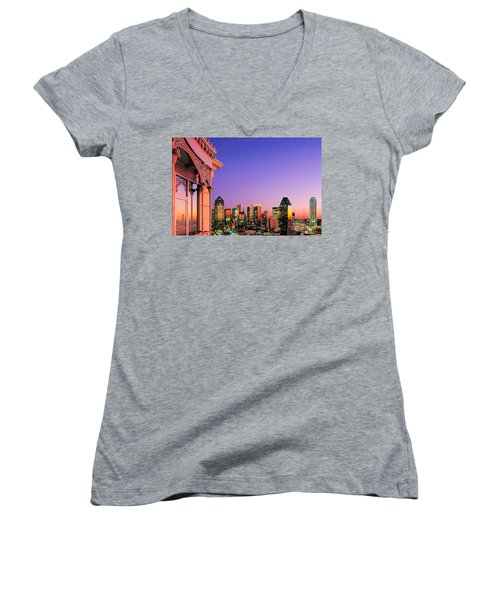 Dallas Skyline At Dusk Women's V-Neck T-Shirt (Junior Cut) by David Perry Lawrence