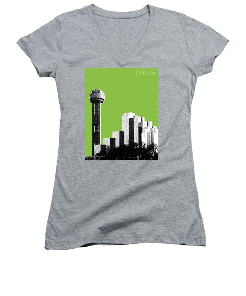 Dallas Skyline Reunion Tower - Olive Women's V-Neck T-Shirt