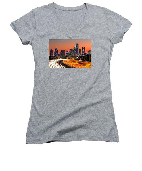 Dallas Sunrise Women's V-Neck T-Shirt