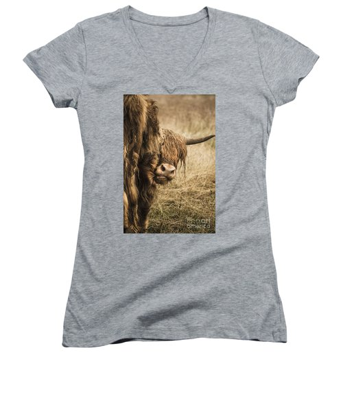 Women's V-Neck T-Shirt (Junior Cut) featuring the photograph  Highland Cow Damn Fleas by Linsey Williams