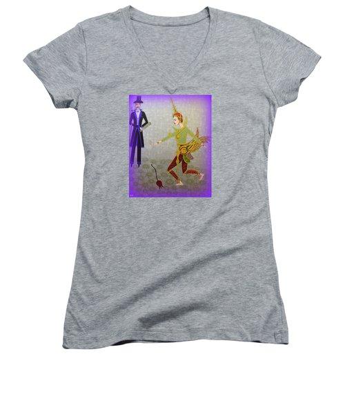 Dance Of A Nymph Women's V-Neck T-Shirt (Junior Cut) by Marie Schwarzer