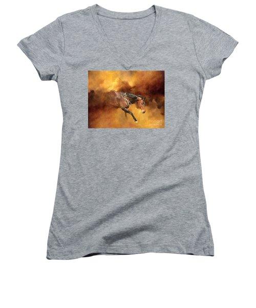 Dancing Free II Women's V-Neck T-Shirt (Junior Cut) by Michelle Twohig