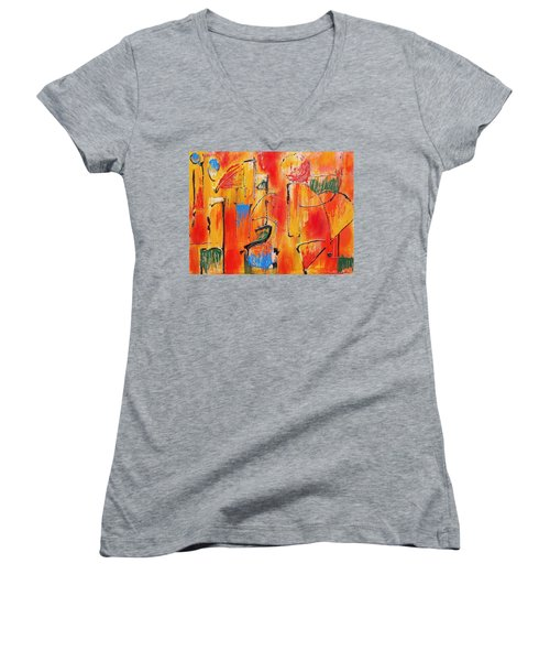 Dancing In The Heat Women's V-Neck T-Shirt (Junior Cut) by Jason Williamson