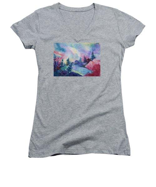 Dancing Lights II Women's V-Neck T-Shirt (Junior Cut) by Ellen Levinson