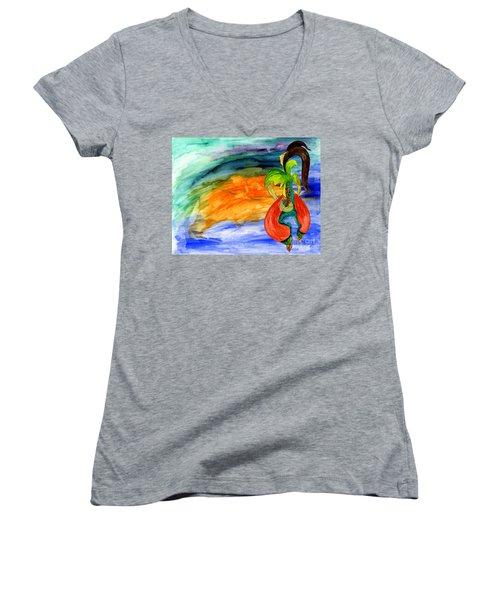 Dancing Tree Of Life Women's V-Neck T-Shirt (Junior Cut) by Mukta Gupta