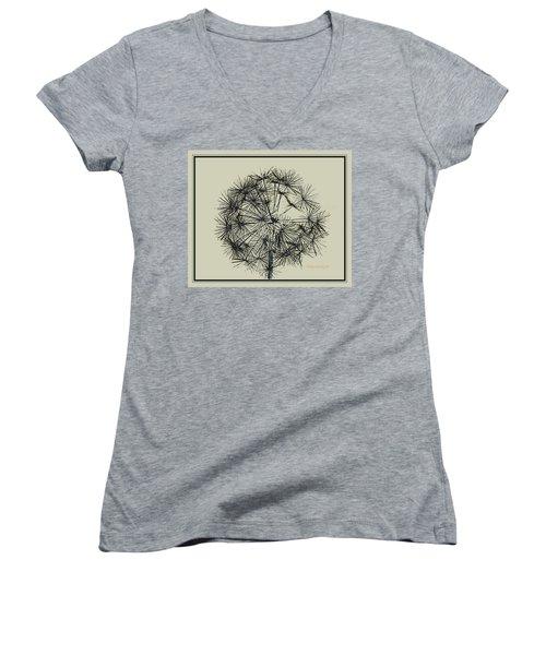 Women's V-Neck T-Shirt (Junior Cut) featuring the photograph Dandelion 6 by Kathy Barney