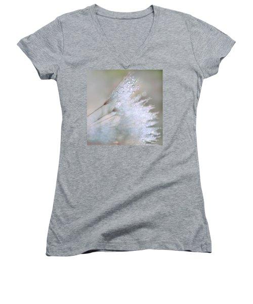 Dandelion Bling Bokeh Women's V-Neck T-Shirt (Junior Cut) by Peggy Collins