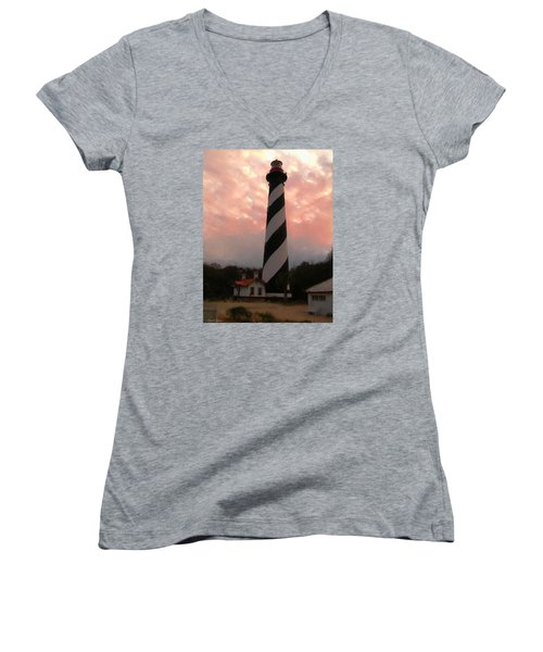 Da127 St. Augustine Lighthouse By Daniel Adams Women's V-Neck (Athletic Fit)