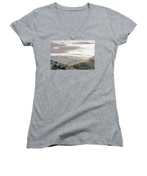 Women's V-Neck T-Shirt (Junior Cut) featuring the photograph Dante's View #1 by Stuart Litoff