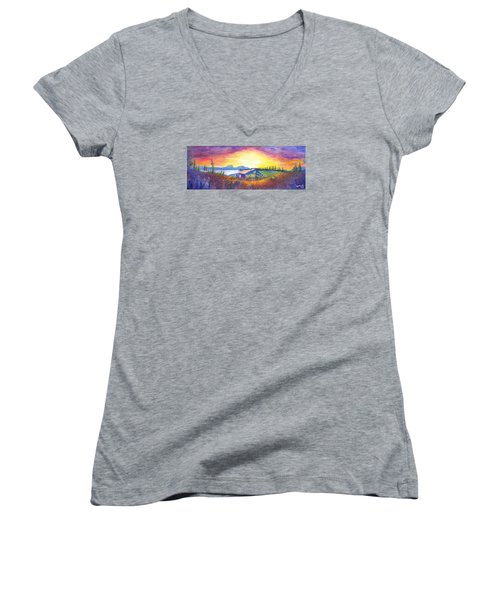 Women's V-Neck T-Shirt (Junior Cut) featuring the painting Dark Star Orchestra Dillon Amphitheater by David Sockrider