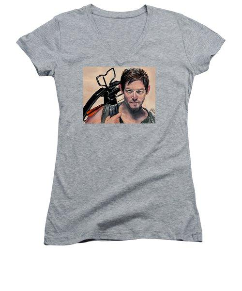 Daryl Dixon Women's V-Neck T-Shirt (Junior Cut) by Tom Carlton