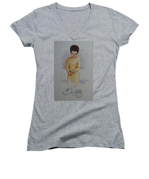 David Women's V-Neck T-Shirt (Junior Cut) by Duane R Probus