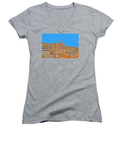 Women's V-Neck T-Shirt (Junior Cut) featuring the photograph Davids Citadel - Israel by Doc Braham