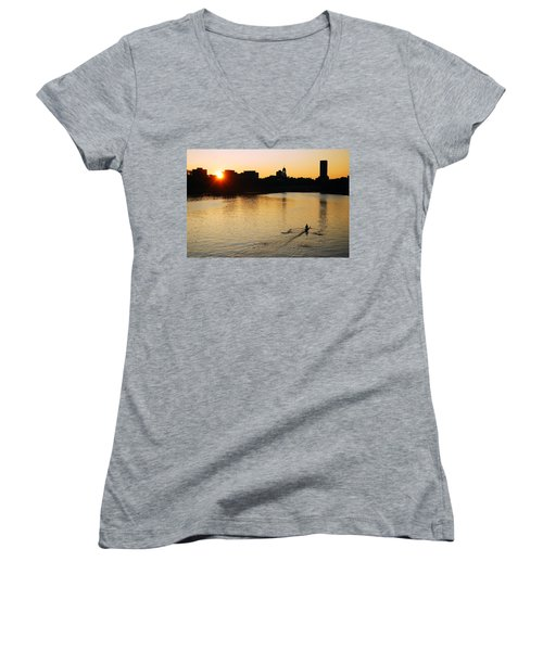 Dawn On The Charles Women's V-Neck T-Shirt (Junior Cut) by James Kirkikis