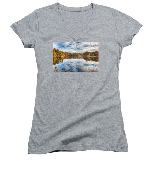 Dawn Reflection Of Fall Colors Women's V-Neck (Athletic Fit)
