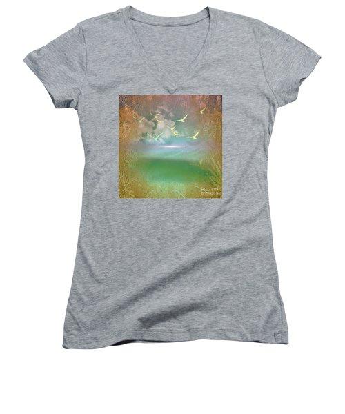 Day At The Beach Abstract Women's V-Neck T-Shirt (Junior Cut) by Judy Palkimas
