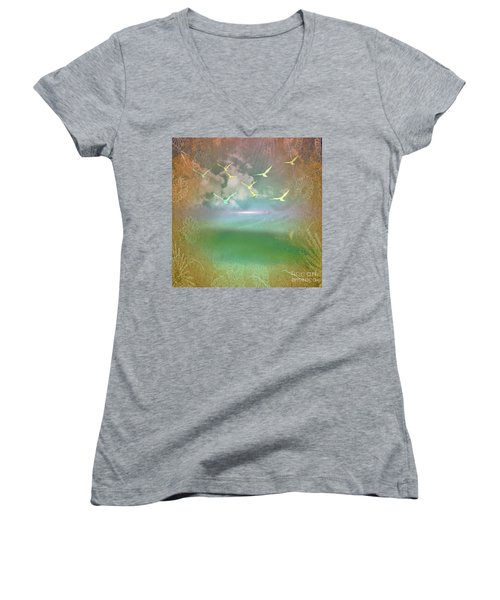 Day At The Beach Abstract Women's V-Neck (Athletic Fit)
