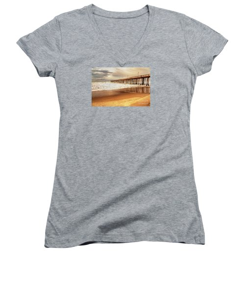 Day At The Pier Large Canvas Art, Canvas Print, Large Art, Large Wall Decor, Home Decor, Photograph Women's V-Neck T-Shirt (Junior Cut) by David Millenheft