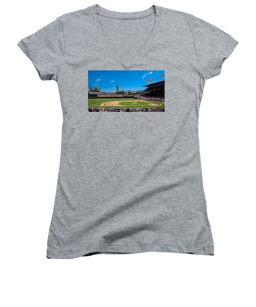 Day Game At Wrigley Field Women's V-Neck T-Shirt (Junior Cut) by Anthony Doudt