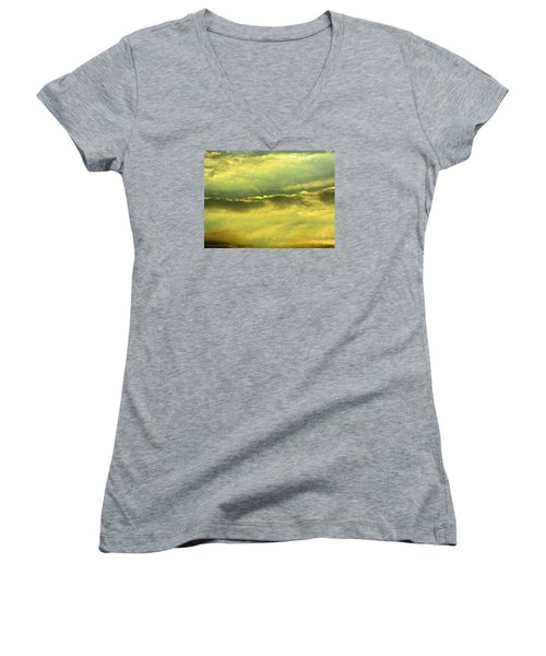 Women's V-Neck T-Shirt (Junior Cut) featuring the photograph Day Is Done by Joy Hardee