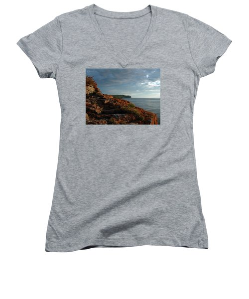 Daybreak At Campsite 19 Women's V-Neck T-Shirt (Junior Cut) by James Peterson