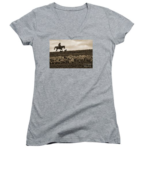 Days End Sheep Herding Women's V-Neck (Athletic Fit)