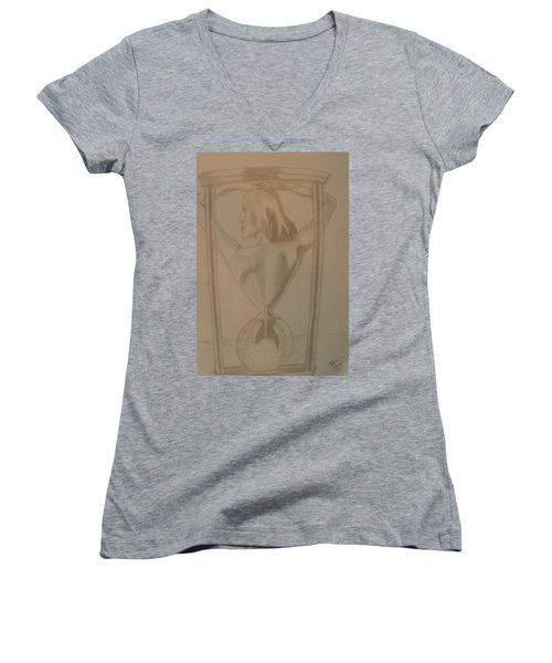 Women's V-Neck T-Shirt featuring the drawing Days Of Our Lives by Thomasina Durkay