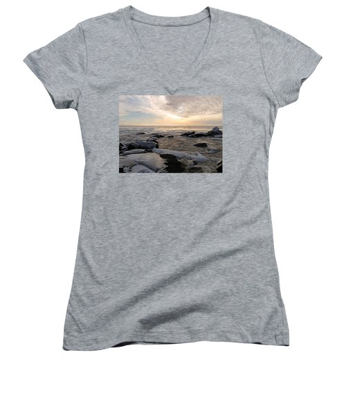 Dazzling Winter On Lake Superior Women's V-Neck T-Shirt (Junior Cut) by James Peterson