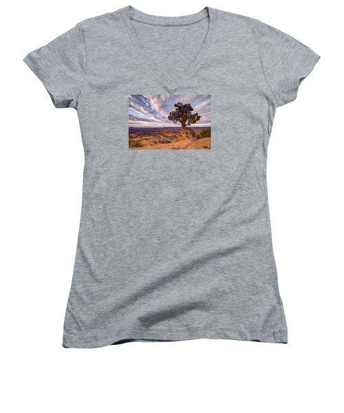 Dead Horse Point Sunrise Women's V-Neck T-Shirt (Junior Cut) by Dustin  LeFevre