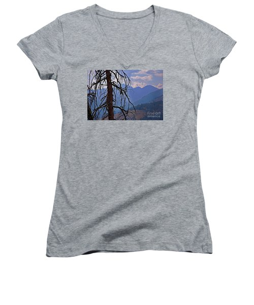Dead Tree Mountains Landscape Women's V-Neck T-Shirt (Junior Cut) by Valerie Garner