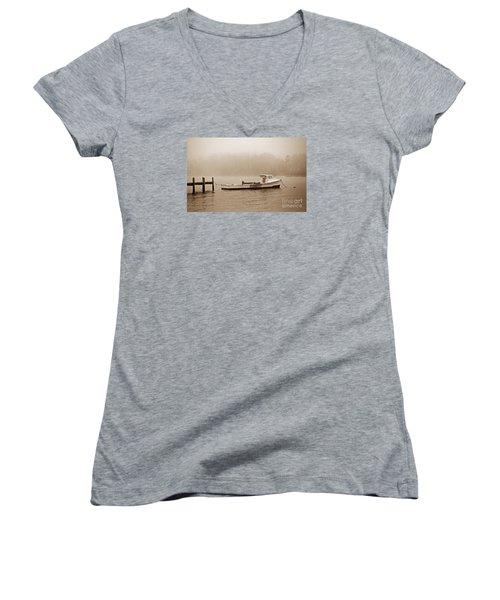 Deadrise Waiting Women's V-Neck T-Shirt (Junior Cut) by Skip Willits